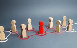 La figura humana roja amplía su influencia a las figuras vecinas Ideas y pensamientos de extensión, nuevos miembros de reclutamie imágenes de archivo libres de regalías