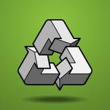 La figura imposible recicla el icono en fondo verde Fotos de archivo