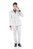La figura improvvisa integrale, supporto dell'uomo di affari in Gray Suit ansima la a immagine stock libera da diritti