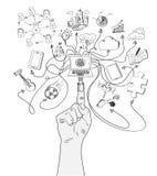 La figura la spina di USB connette le icone sociali di media Fotografie Stock Libere da Diritti