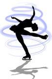 La figura patinador reclina Spin/ai Foto de archivo