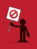 La figura tenencia no cruza hacia fuera firma Foto de archivo libre de regalías