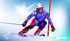 La figura variopinta poligonale di Ski Jumping con sopra un fondo bianco e blu Fotografia Stock Libera da Diritti