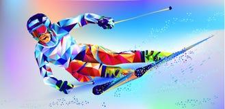 La figura variopinta poligonale di uno snowboard del giovane con sopra un fondo bianco e blu Fondo del blu dell'illustrazione di  Fotografia Stock