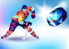 La figura variopinta poligonale di uno snowboard del giovane con sopra un fondo bianco e blu Fondo del blu dell'illustrazione di  Immagine Stock