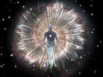La figure émerge du cosmos Images libres de droits