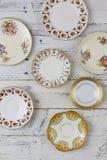 La figure antique plats a assorti le blanc Backg de modèle de la Chine de vintage Photos libres de droits
