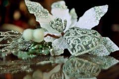 La figure du coeur et de la fleur blanche a réfléchi sur le verre Photographie stock libre de droits