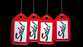 La fila animata di rosso d'oscillazione di vendita etichetta il fondo stock footage