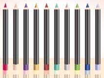La fila de compone los lápices Foto de archivo libre de regalías