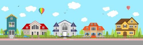 La fila de diversa familia colorida contiene el vector exterior casero de la casa ilustración del vector