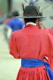 La fila de guardias armados en soldado tradicional antiguo uniforma en la residencia real vieja, Seul, Corea del Sur Fotos de archivo libres de regalías