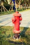 La fila degli idrante antincendio rossi, inforna i tubi principali, i tubi per estinzione di incendio ed estinguente immagine stock libera da diritti