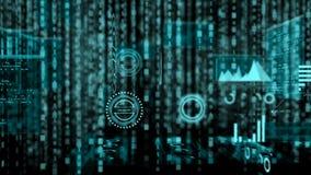 la fila del fondo di 4K Abstrack di testo binario digitale casuale cade giù con grano per la tecnologia ed il concetto futuristic illustrazione vettoriale