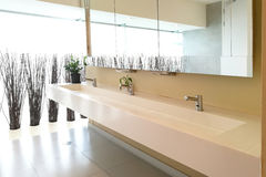 La fila del lavaggio della mano affonda nella toilette pubblica moderna Fotografie Stock Libere da Diritti