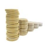 La fila del mucchio della moneta impila la trasformazione dall'oro a metallo Fotografia Stock