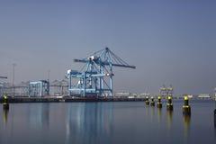 La fila del puerto grande cranes en el puerto de Rotterdam Fotografía de archivo