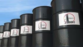 La fila di metallo barrels con il logo di Sinopec contro il cielo, rappresentazione editoriale 3D Fotografie Stock Libere da Diritti