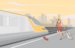 La fille à la gare. Illustration Stock