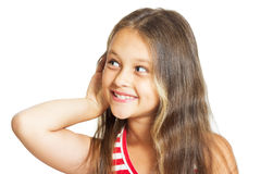 la fille écoute Image stock