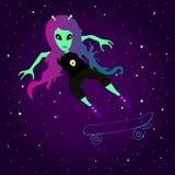 La fille étrangère fantastique patine sur une planche à roulettes dans la perspective de l'espace Illustration de Vecteur