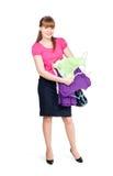La fille achète des vêtements Photographie stock libre de droits