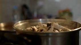 La fille ajoute des champignons au soucepan avec l'eau bouillante banque de vidéos