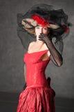 La fille avec du charme dans une belle robe Photo libre de droits