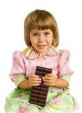 La fille avec du chocolat Photos stock