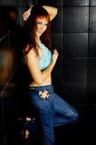 La fille avec le cheveu rouge humide Image stock