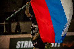 La fille avec le drapeau russe Photos stock