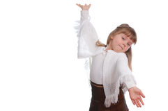 La fille avec le geste de invitation des mains Image stock