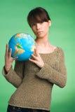 La fille avec le globe Image libre de droits