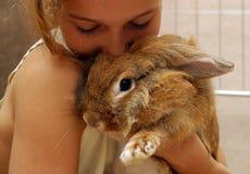 La fille avec le lapin Images stock