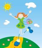 La fille avec le lapin Photo stock
