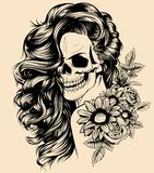 La fille avec le squelette composent le croquis tiré par la main de vecteur Illustration d'actions de portrait de sorcière de fem illustration libre de droits