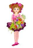 La fille avec un bouquet image stock