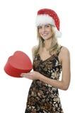 La fille avec un cadre de cadeau Photos stock