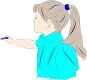 La fille avec un crayon explique, répond illustration libre de droits