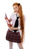 La fille avec un dépliant Photographie stock libre de droits