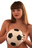 La fille avec un footbal Photo libre de droits