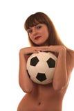 La fille avec un football Image libre de droits