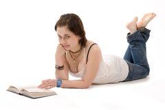 La fille avec un livre Photo stock