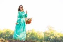 La fille avec un panier dans une longue robe se tenant sur la colline image libre de droits