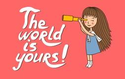 La fille avec un télescope illustration libre de droits