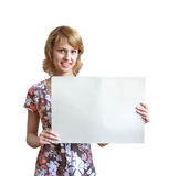 La fille avec une feuille d'un papier Images libres de droits