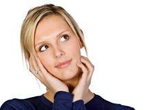 la fille blonde attirante de visage la remet Photographie stock