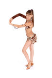 la fille brune de robe pose le studio image stock