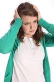 La fille chargée préoccupée d'adolescent est effrayée photo stock