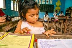 La fille compte des nombres en Bolivie images libres de droits